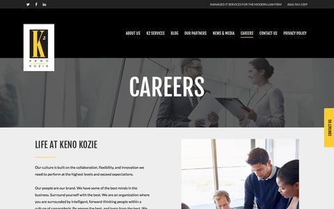 Screenshot of Jobs Page kenokozie.com - Careers - Keno Kozie Associates - captured Oct. 17, 2017