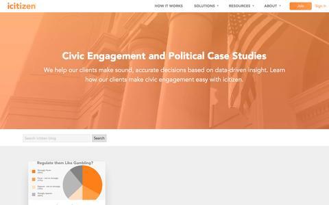 Screenshot of Case Studies Page icitizen.com - Political Case Studies | Civic Engagement | icitizen - captured Aug. 6, 2016