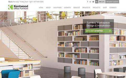 Screenshot of Home Page kentwoodoffice.com - Kentwood - Office Furniture & Interior Solutions in Grand Rapids, Detroit, Lansing, Jackson, Indianapolis, and Chicago - captured Feb. 26, 2018