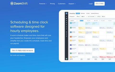 Screenshot of Home Page zoomshift.com - Work Schedule Maker - ZoomShift - captured Jan. 12, 2018