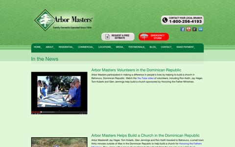 Screenshot of Press Page arbormasters.com - In the News - Tree Service, Lawn Care and Landscape Company - captured Sept. 8, 2016