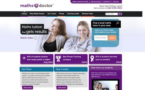 Screenshot of Home Page mathsdoctor.co.uk - Maths DoctorŞ - Award-winning UK Maths Tutoring Service - captured Jan. 9, 2016