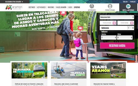 Screenshot of Home Page aramon.com - ARAMÓN Verano | Estaciones de Esquí en Aragón - captured July 28, 2018