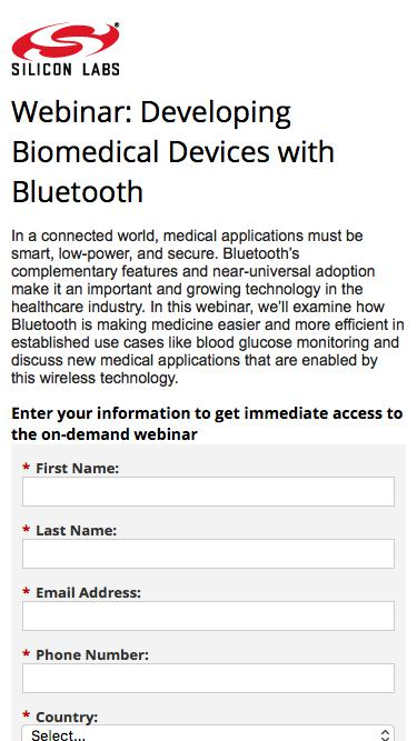Webinar: Developing Biomedical Devices with Bluetooth | Silicon Labs