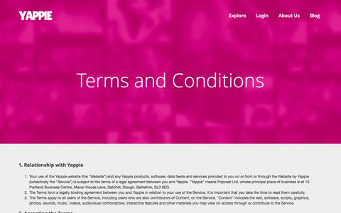 Screenshot of Terms Page yappie.com - Terms and Conditions - Yappie - captured Sept. 22, 2014