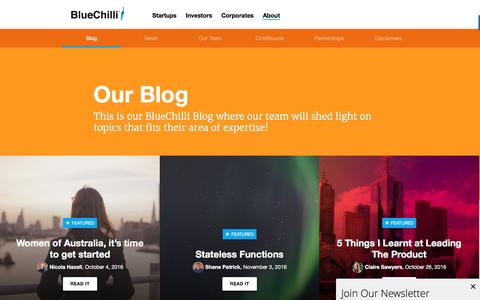 Screenshot of Blog bluechilli.com - The BlueChilli Blog - captured Nov. 17, 2016