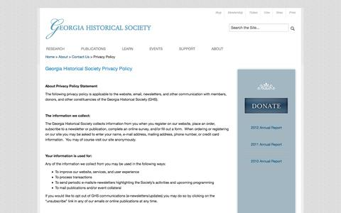 Screenshot of Privacy Page georgiahistory.com - Privacy Policy   Georgia Historical Society - captured Oct. 2, 2014