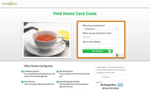 Screenshot of Landing Page caring.com - Find Top In-Home Care Agencies in Your Area | Caring.com - captured May 11, 2016