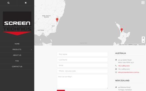 Screenshot of Contact Page screentechnics.com.au - Contact Us   Screen Technics - captured Sept. 30, 2017
