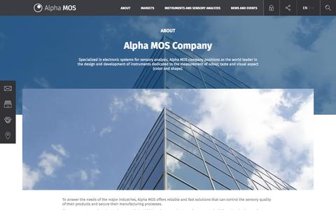 Screenshot of About Page alpha-mos.com - Alpha MOS Company | alphamos - captured May 29, 2017