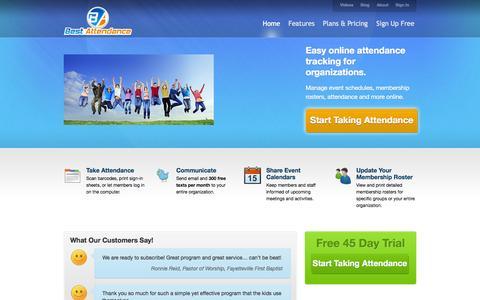 Screenshot of Home Page bestattendance.com - Best Attendance - captured Sept. 30, 2014