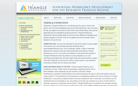 Screenshot of Terms Page triangleworksource.com - Terms & Conditions |  Triangle Work Source - captured Oct. 7, 2014
