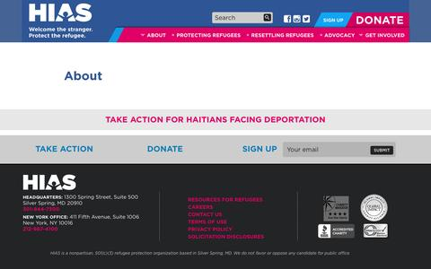 Screenshot of About Page hias.org - About | HIAS - captured May 12, 2017
