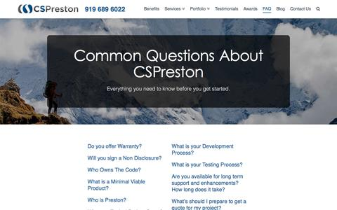 Screenshot of FAQ Page customsoftwarebypreston.com - FAQ - Custom Software by Preston - captured July 18, 2016