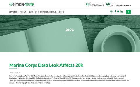 Screenshot of Blog simpleroute.com - Blog - simpleroute - captured Oct. 20, 2018