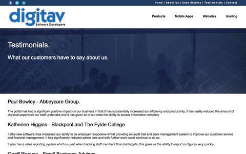 Screenshot of Testimonials Page digitav.com - Digitav Client Testimonials - captured Aug. 7, 2018