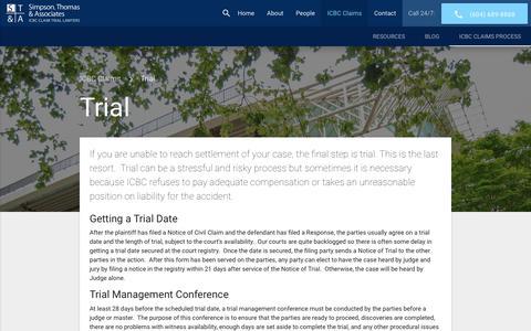 Screenshot of Trial Page simpsonthomas.com - Taking Your ICBC Claim to Trial - Simpson Thomas & Associates - captured Nov. 13, 2017