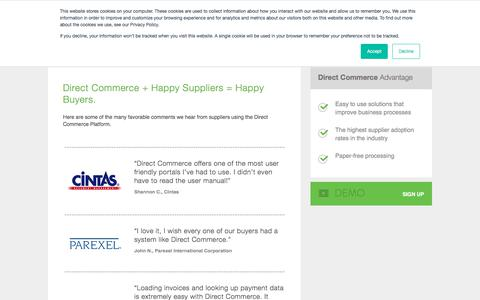 Screenshot of Testimonials Page directcommerce.com - Supplier Testimonials | Direct Commerce - captured Aug. 7, 2018