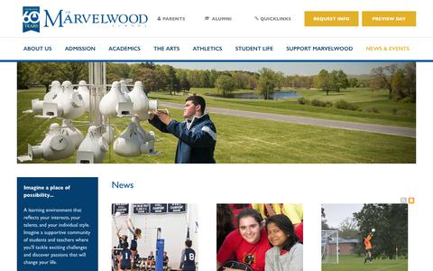 Screenshot of Press Page marvelwood.org - News - Marvelwood School - captured Oct. 17, 2018