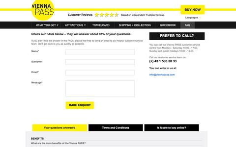 Screenshot of FAQ Page viennapass.com - Vienna PASS Contact Details & Telephone Number - captured Dec. 31, 2016