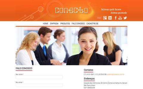Screenshot of Contact Page conecto.com.br - FALE CONOSCO | Conecto - captured Nov. 2, 2014