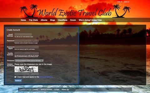 Screenshot of Signup Page worldexotictravelclub.com - Au Naturel and Nudist World Exotic Travel Club - Sign-up - captured Jan. 8, 2018