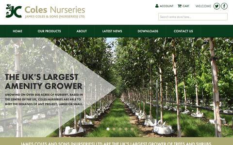 Screenshot of Home Page colesnurseries.co.uk - Coles Nurseries - Home - captured Sept. 30, 2016