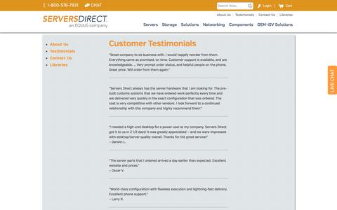 Servers Direct Testimonials