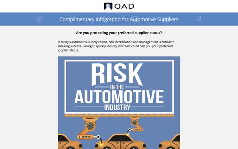 Screenshot of Landing Page qad.com - Complimentary Infographic for Automotive Suppliers - captured May 26, 2018
