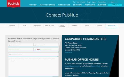 Screenshot of Contact Page pubnub.com - Contact US | PubNub - captured Jan. 28, 2017