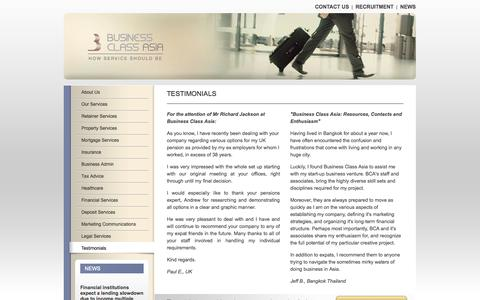 Screenshot of Testimonials Page businessclassasia.com - Testimonials: Business Class Asia - How Expatriate Business Services Should Be! - captured Sept. 30, 2014