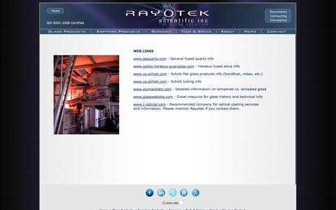 Screenshot of Press Page rayotek.com - Links and Resources - Rayotek Scientific Inc. - captured Oct. 26, 2014