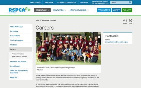 Screenshot of Jobs Page rspcaqld.org.au - RSPCA Queensland   Careers - captured Feb. 15, 2016