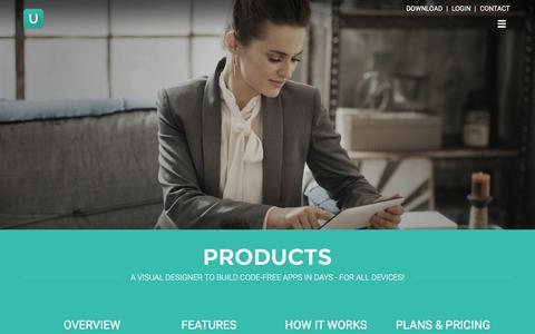 Screenshot of Home Page umajin.com - Umajin - The App Creator for Designers - captured Jan. 10, 2016