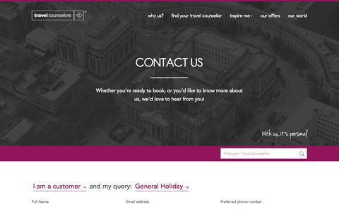 Screenshot of Contact Page travelcounsellors.co.uk - Contact us - captured Sept. 23, 2014