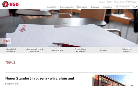 Screenshot of Press Page hso.ch - News | HSO Wirtschaftsschule Schweiz - captured Sept. 26, 2018