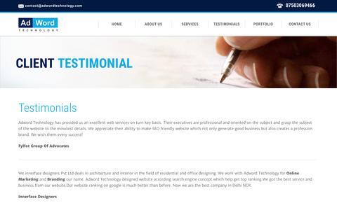 Screenshot of Testimonials Page adwordtechnology.com - Testimonials | AdWord Technology - captured Dec. 24, 2015