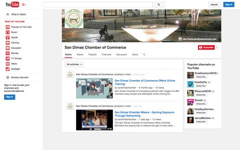 Screenshot of YouTube Page youtube.com - San Dimas Chamber of Commerce  - YouTube - captured Oct. 23, 2014