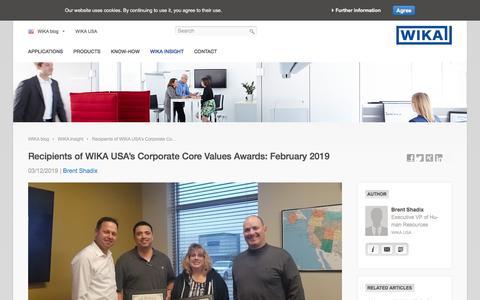 Screenshot of Blog wika.us - WIKA USA's Corporate Core Value Awards: February 2019 - WIKA blog - captured Nov. 9, 2019