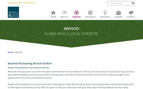 Screenshot of Services Page mlrpc.com - Business Accounting Services & More | Maxwell Locke & Ritter - captured Oct. 17, 2018