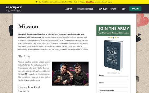 Screenshot of About Page blackjackapprenticeship.com - Mission - Blackjack Apprenticeship - captured Oct. 1, 2015