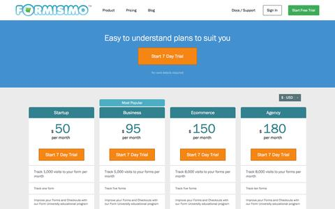 Screenshot of Signup Page Pricing Page formisimo.com - Form Analytics Price Plan | Formisimo - captured Nov. 26, 2015