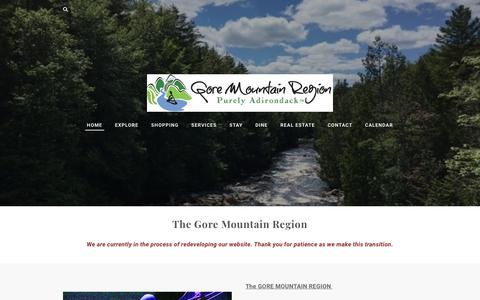 Screenshot of Home Page gorechamber.com - Gore Mountain Chamber - Home - captured Jan. 19, 2018