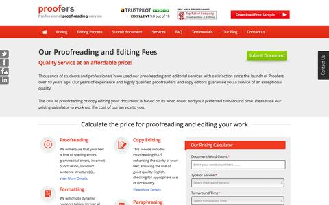 Screenshot of Pricing Page proofers.co.uk - Proofreading Pricing - Calculate the cost for Proofreading - captured Dec. 14, 2015