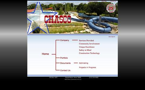 Screenshot of Site Map Page chasco.com - Chasco Constructors - Construction Excellence Since 1979 - captured Oct. 2, 2014