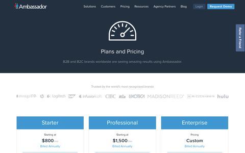 Screenshot of Pricing Page getambassador.com - World-Class Relationship Marketing Platform Pricing | Ambassador - captured Aug. 19, 2017
