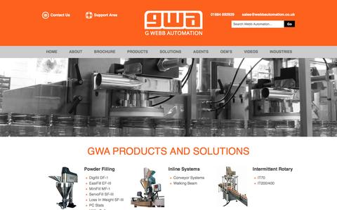 Screenshot of Products Page webbautomation.co.uk - Products - G. Webb Automation - captured Jan. 24, 2016