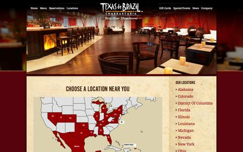 Screenshot of Locations Page texasdebrazil.com - Locations | Texas de Brazil - Brazilian Steakhouse - captured Sept. 19, 2014