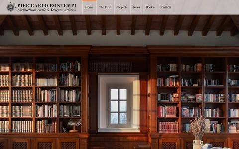 Screenshot of Home Page piercarlobontempi.it - Pier Carlo Bontempi | Architettura civile e Disegno urbano. Lo studio di architettura di Pier Carlo Bontempi è stato fondato nel 1998 ed è situato a circa venticinque chilometri a sud della città di Parma, nella campagna dove la pianura padana incont - captured May 3, 2016