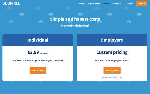 Screenshot of Pricing Page squirrel.me - Squirrel - pricing - captured Feb. 23, 2016